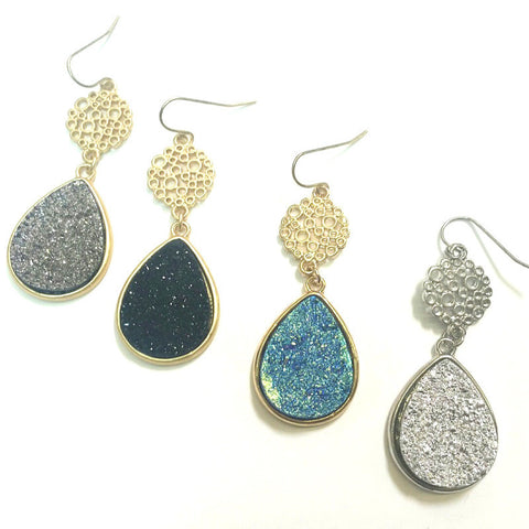 Teardrop Drop Druzy Earrings