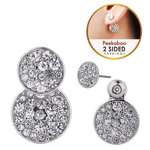 Double Sided Crystal Circle Earrings