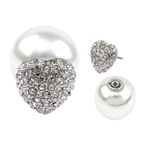 Crystal Heart & Pearl Double Sided Earrings