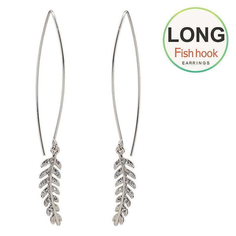 Long Wire Feather Earrings