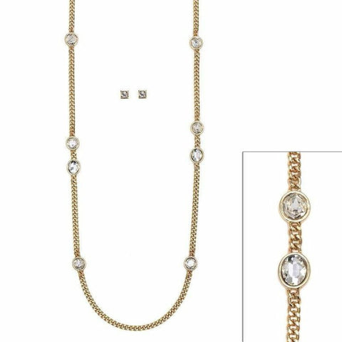 Long Chain Necklace with Oval Crystals