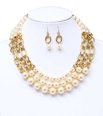Triple Pearl  & Chain Necklace