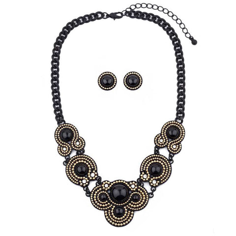 Swirl Beaded Statement Necklace