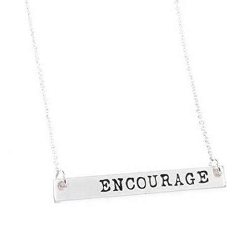 Encourage Horizontal Rectagle Necklace