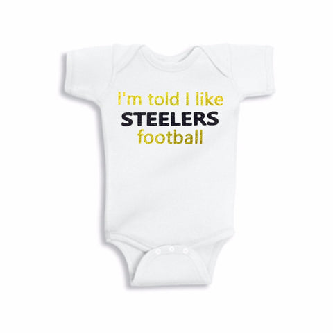 I'm Told I Like Steelers Football Glitter Onesie