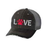 Love with Paw Distressed Ladies Trucker Hat