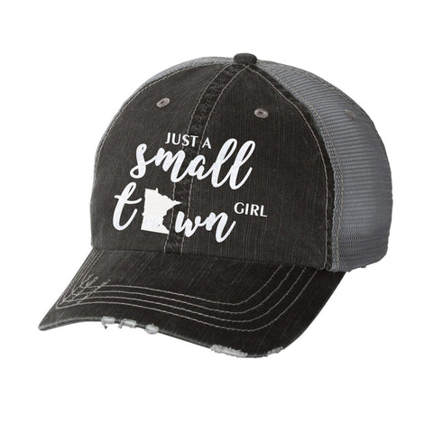 Just a Small Town Girl with State Distressed Ladies Trucker Hat