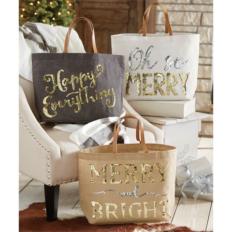 Happy Holidays Sequined Tote