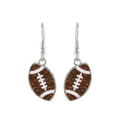 Small Flat Crystal Football Earrings