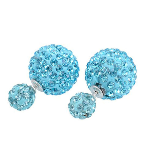 Double Sided Pave Crystal Post Earrings