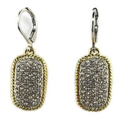 Rectangle Pave Crystal Earrings