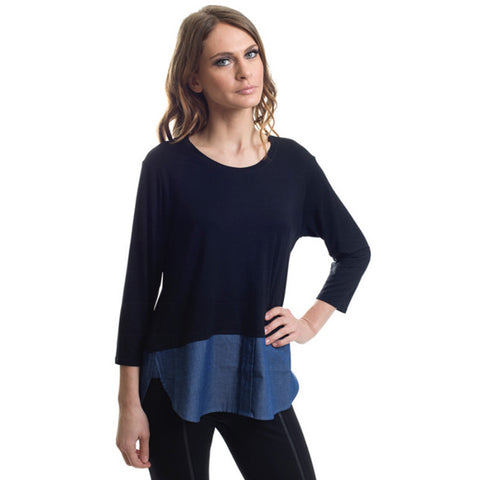 Zippered Back Black & Jean Top