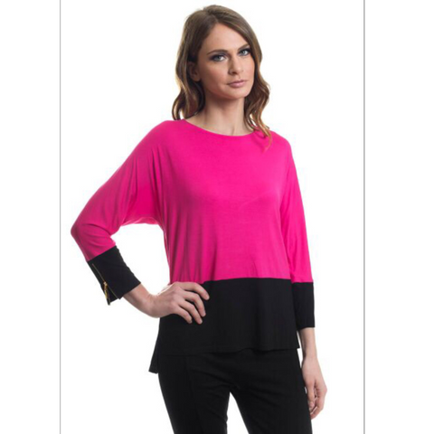 Contrast Pink & Black Top