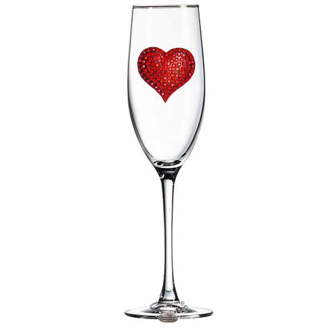 Crystal Heart Champagne Flute