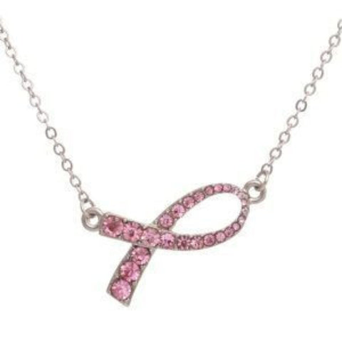 Sideways Breast Cancer Awareness Ribbon Necklace