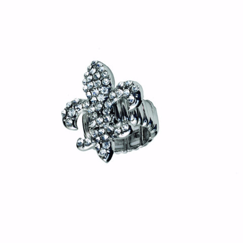 Crystal Fleur De Lis Stretch Ring