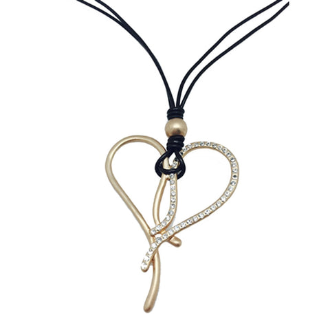 Long Leather & Matte Gold Heart Necklace