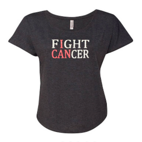 Fight Cancer (I Can) Dolman Glitter Shirt