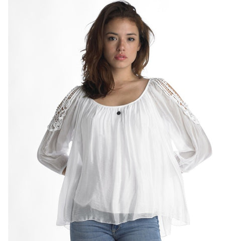 Cold Shoulder Silk Top with Embroidery