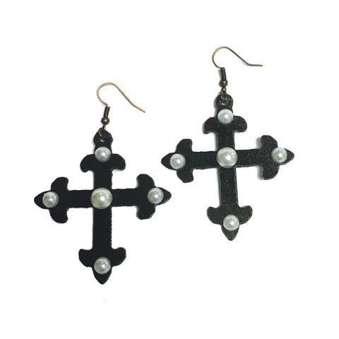 Cross with Pearl Earrings