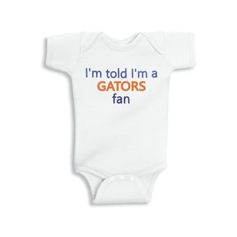 I'm Told I'm a Gators Fan Glitter Onesie