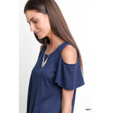 Heather Cold Shoulder Tee