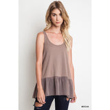 Ruffled Ribbed Tank Top