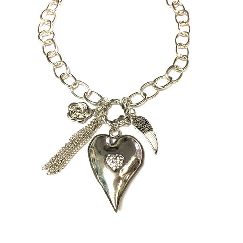 Puffy Heart with Tassel Necklace