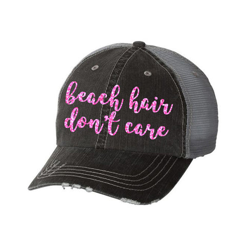 Beach Hair Don't Care Distressed Ladies Trucker Hat