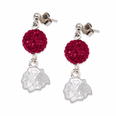 Chicago Blackhawks Hockey Crystal Earrings