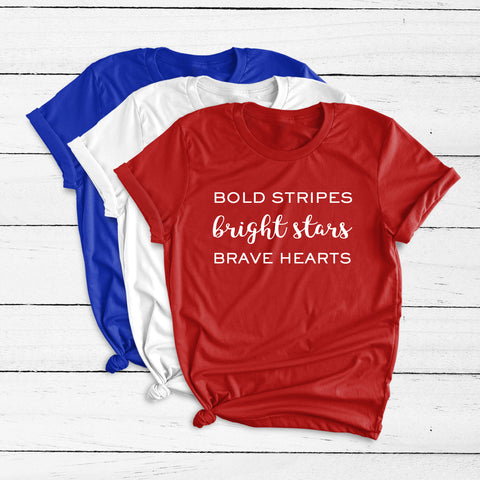 Bold Stripes Bright Stars Brave Hearts Short Sleeve Shirt
