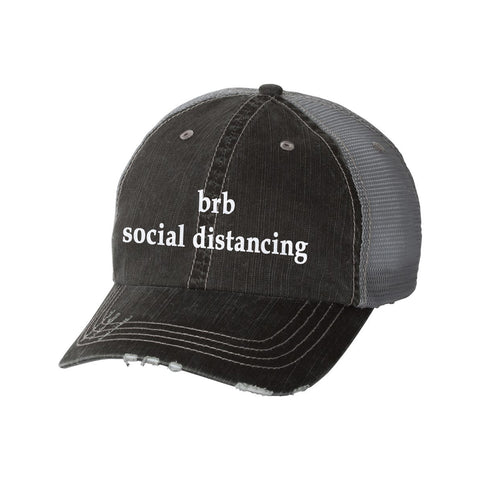 BRB Social Distancing Distressed Ladies Trucker Hat