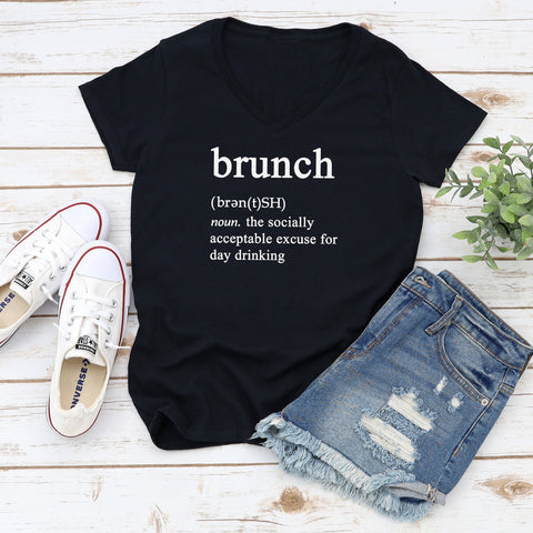Brunch Definition Short Sleeve V-Neck Shirt