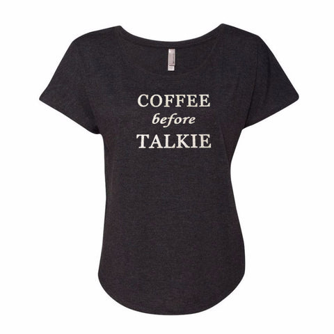 Coffee Before Talkie Dolman Glitter Shirt