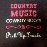 Country Music Cowboy Boots Glitter Shirt