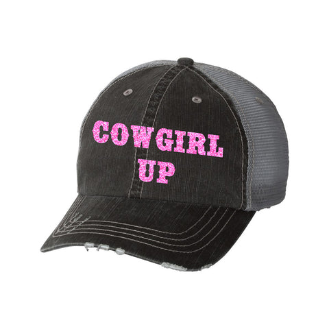 Cowgirl Up Distressed Ladies Trucker Hat