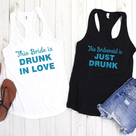 Bridesmaid is Just Drunk Glitter Tank
