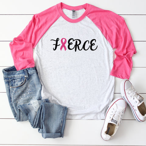Fierce Breast Cancer Awareness Raglan