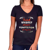 Fireball Whiskey Glitter Short Sleeve V-Neck