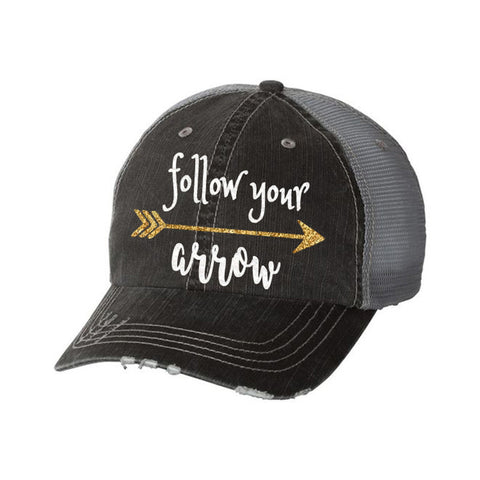 Follow Your Arrow Distressed Ladies Trucker Hat