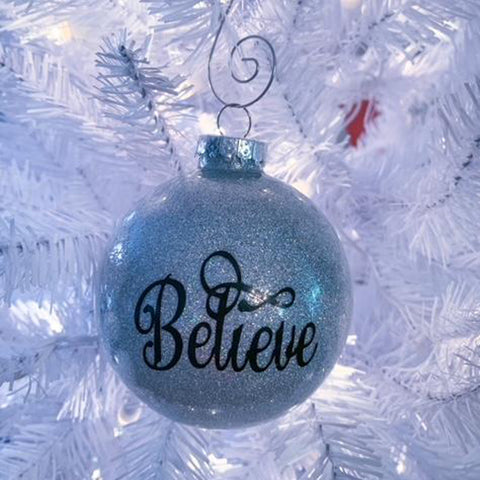 Glitter Believe Silver Ornament