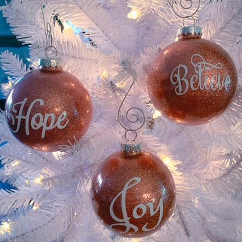 Glitter Rose Gold Ornament