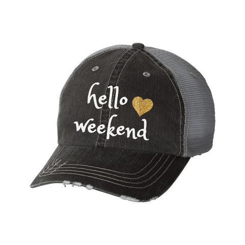 Hello Weekend Distressed Ladies Trucker Hat