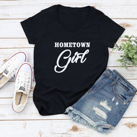 Hometown Girl Glitter Ladies Short Sleeve V-Neck Shirt