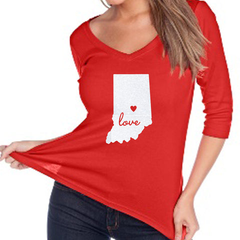 State of Indiana Love 3/4 V-Neck Glitter Shirt