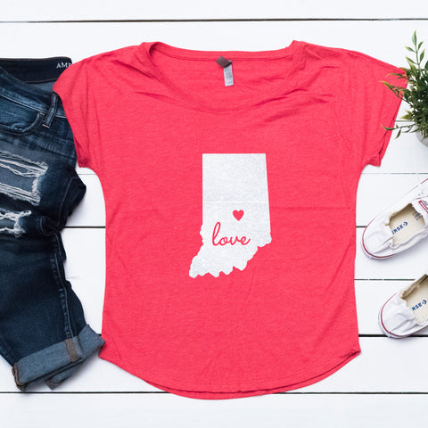 State of Indiana Love Dolman Glitter Shirt