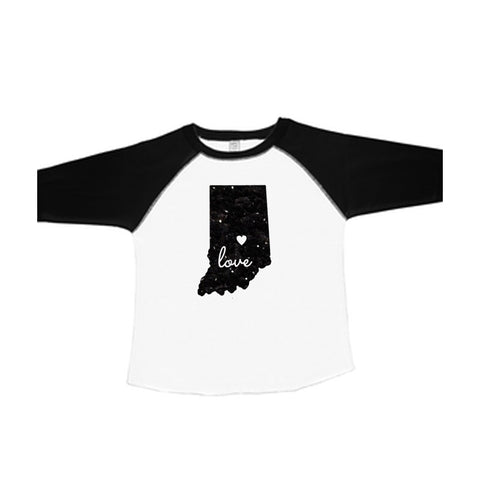 Indiana with Love Cut Out Toddler Raglan