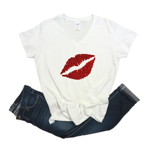 Red Lips V-neck Glitter Shirt