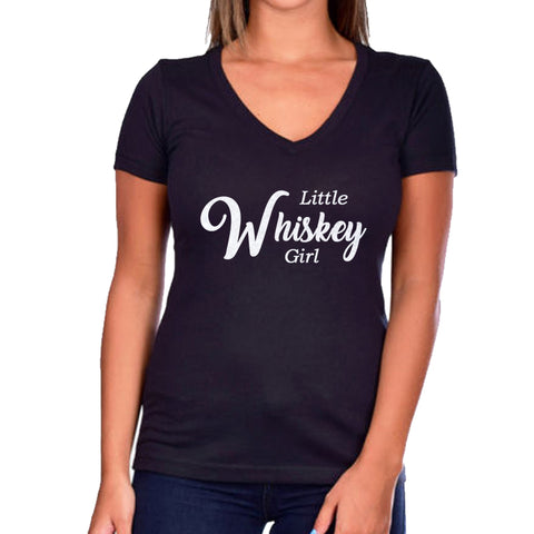 Little Whiskey Girl Glitter Ladies Short Sleeve V-Neck Shirt
