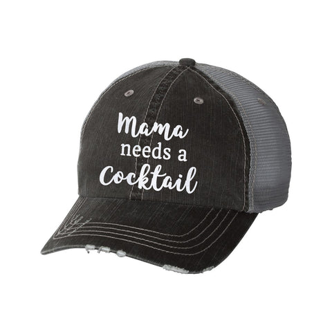 Mama Needs a Cocktail Distressed Ladies Trucker Hat